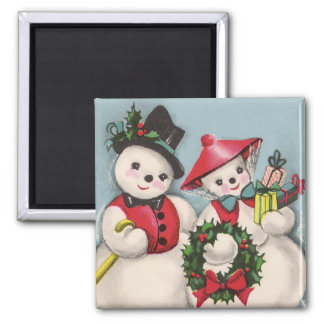 Charming Snowmen Couple Magnet