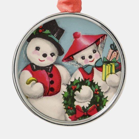 Charming Snowmen Couple Metal Ornament