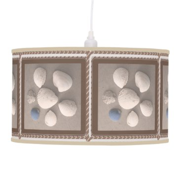 Beach Themed Charming Soft Brown Framed Seashell Pendant Lamp