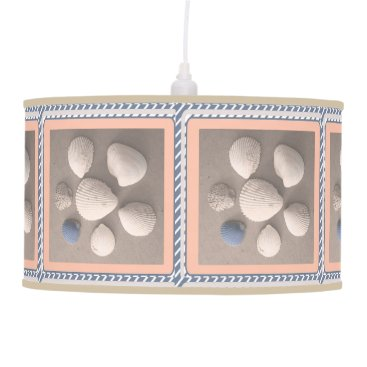 Charming Soft Peach Framed Seashell Pendant Lamp