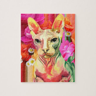 Charming Sphynx cat in flowers Jigsaw Puzzle
