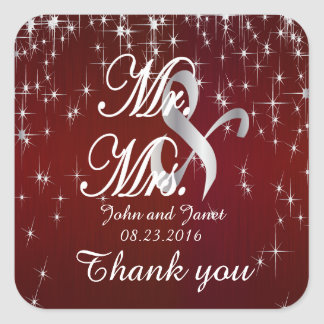 Charming Star Struck Wedding | Burgundy Red Square Sticker