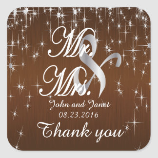Charming Star Struck Wedding | Chocolate Brown Square Sticker
