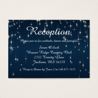 Charming Star Struck Wedding | Navy Blue Business Card