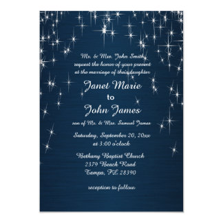Charming Star Struck Wedding | Navy Blue Card