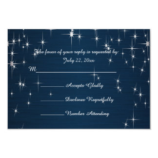 Charming Star Struck Wedding   Navy Blue 3.5x5 Paper Invitation Card