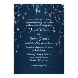 Charming Star Struck Wedding | Navy Blue 5x7 Paper Invitation Card