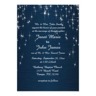 Charming Star Struck Wedding   Navy Blue 5x7 Paper Invitation Card
