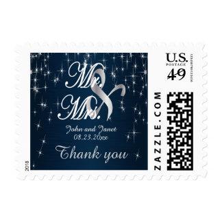 Charming Star Struck | Wedding | Navy Blue Postage Stamp