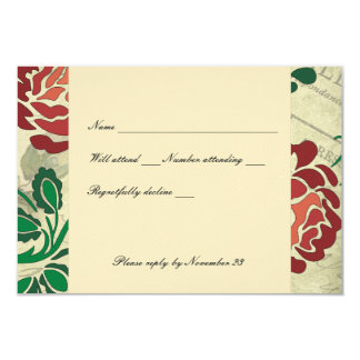 Charming Stylized Red Rose rsvp with envelopes Card
