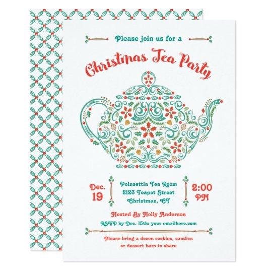 Charming teapot christmas tea party invitation zazzle charming teapot christmas tea party invitation filmwisefo