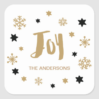 Charming Trendy Joy Holiday Square Sticker