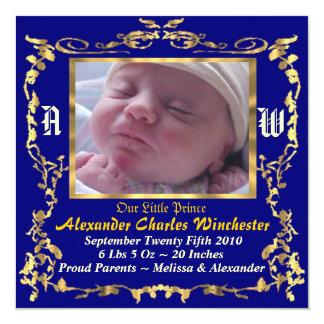 """Charming & Unique Baby Birth Announcement 5.25"""" Square Invitation Card"""