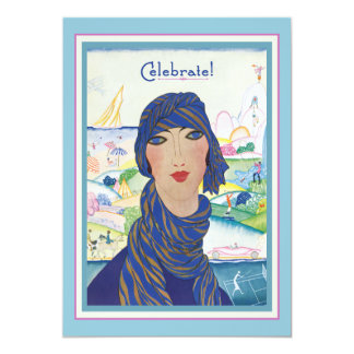 "Charming Vintage Art Deco Woman Party 5"" X 7"" Invitation Card"