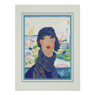 Charming Vintage Art Deco Woman Poster