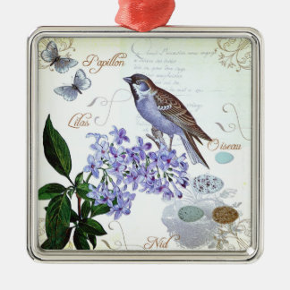 Charming Vintage French Bird Text Floral Collage Metal Ornament