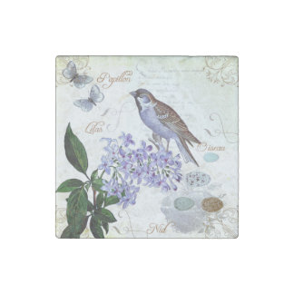 Charming Vintage French Bird Text Floral Collage Stone Magnet