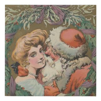 Charming Vintage Kissing Santa Christmas Wreath Faux Canvas Print