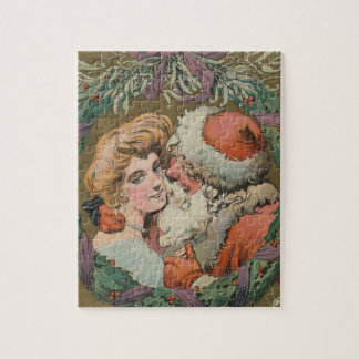 Charming Vintage Kissing Santa Christmas Wreath Jigsaw Puzzle