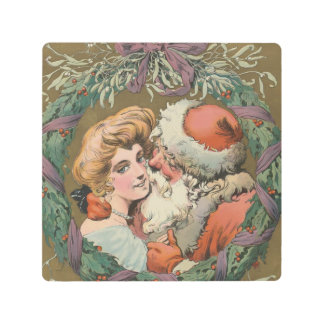 Charming Vintage Kissing Santa Christmas Wreath Metal Print