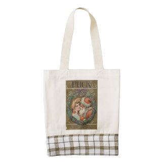 Charming Vintage Kissing Santa Christmas Wreath Zazzle HEART Tote Bag