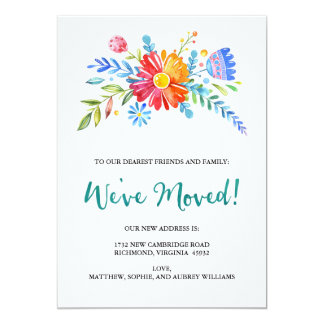 Charming Watercolor We've Moved Announcement