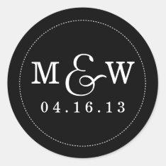 Charming Wedding Monogram Sticker - Black at Zazzle