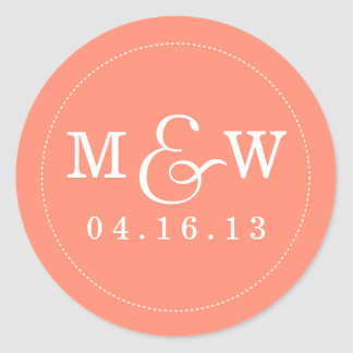 Charming Wedding Monogram Sticker - Coral