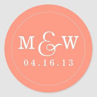 origamiprints Charming Wedding Monogram Sticker - Coral