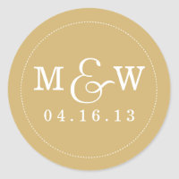 Charming Wedding Monogram Sticker - Gold