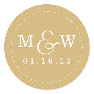 Charming Wedding Monogram Sticker - Gold
