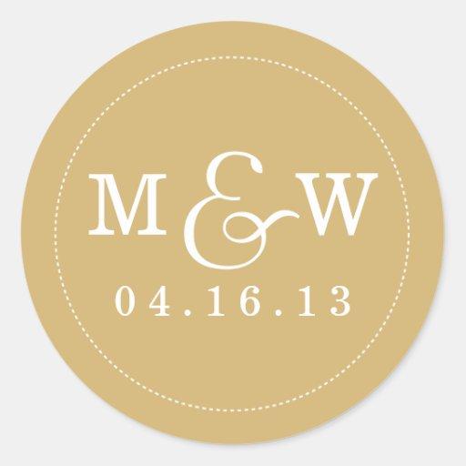 charming wedding monogram sticker gold zazzle