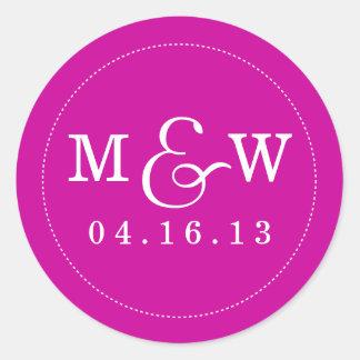 Charming Wedding Monogram Sticker - Magenta