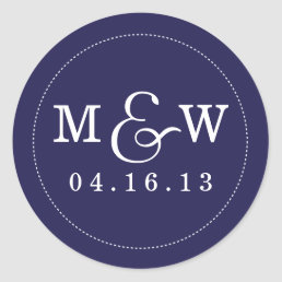 Charming Wedding Monogram Sticker - Navy