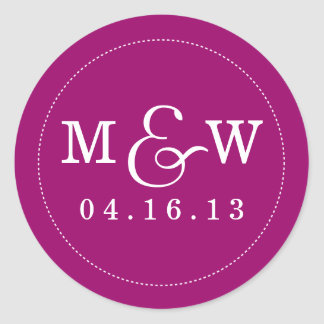 Charming Wedding Monogram Sticker - Raspberry