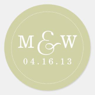 Charming Wedding Monogram Sticker - Sage