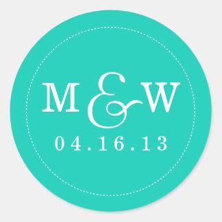 Charming Wedding Monogram Sticker - Turquoise