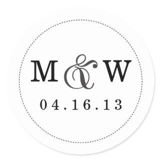 Charming Wedding Monogram Sticker - White