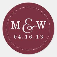 Charming Wedding Monogram Sticker - Wine Red