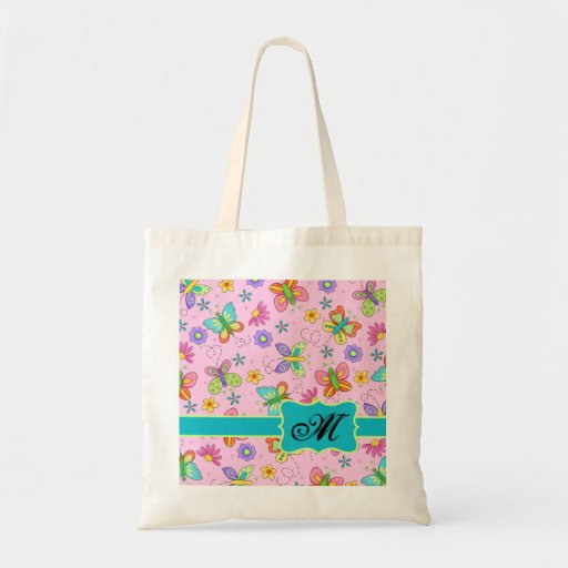 Charming Whimsy Butterflies Pink Monogram Canvas Bags