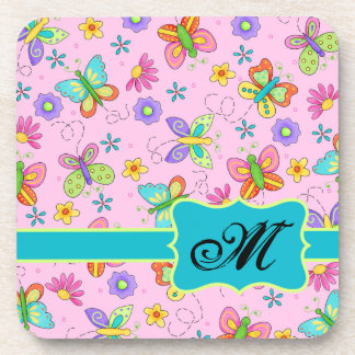 Charming Whimsy Butterflies Pink Monogram Coasters