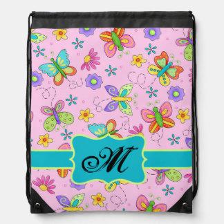 Charming Whimsy Butterflies Pink Monogram Drawstring Bag