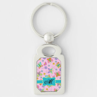 Charming Whimsy Butterflies Pink Monogram Keychain