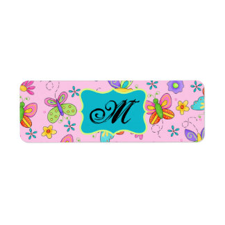 Charming Whimsy Butterflies Pink Monogram Label