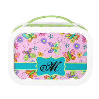 Charming Whimsy Butterflies Pink Monogram Lunch Box