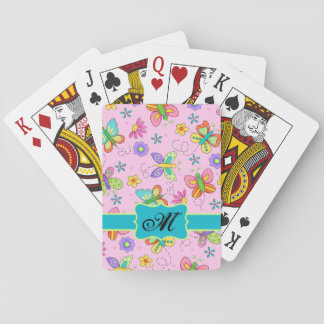 Charming Whimsy Butterflies Pink Monogram Playing Cards