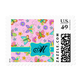 Charming Whimsy Butterflies Pink Monogram Stamp