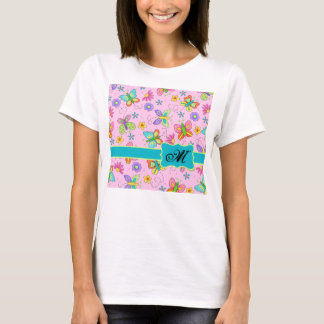 Charming Whimsy Butterflies Pink Monogram T-Shirt