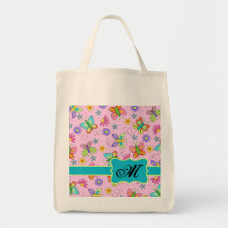 Charming Whimsy Butterflies Pink Monogram Tote Bag
