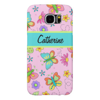 Charming Whimsy Butterflies Pink Name Personalized Samsung Galaxy S6 Case
